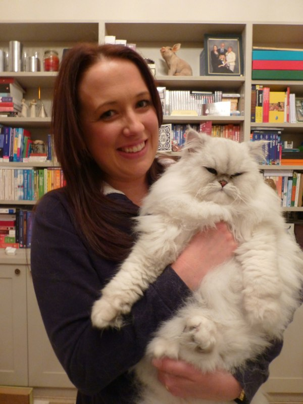 A very happy mummy with grumpy Arthur! His fur was silky smooth after his comb through.
